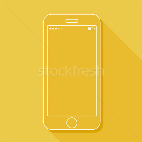 Illustration with a mobile phone. Gadget in flat style with a long shadow  Stock photo © maximmmmum