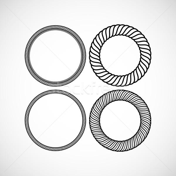 Ingesteld vector kant frames ontwerp sjablonen Stockfoto © maximmmmum