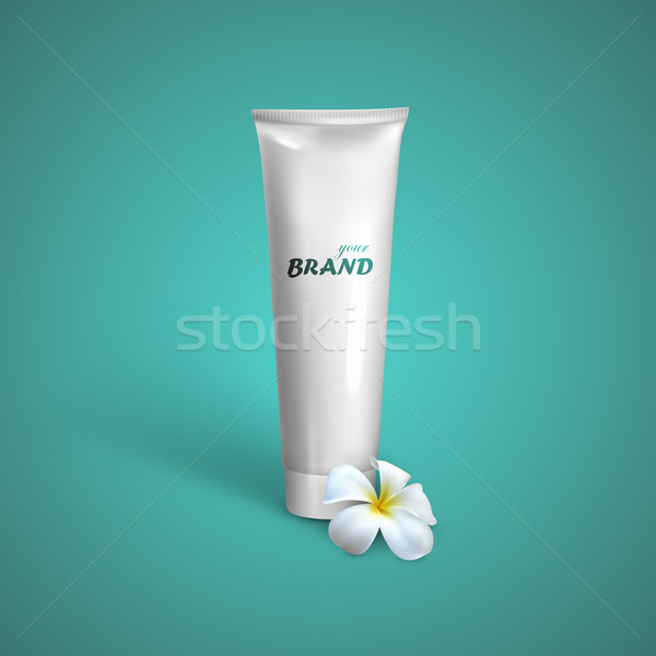 White tube mock-up for cream, tooth paste or gel with frangipani exotic flower. Vector packaging ill Stock photo © maximmmmum