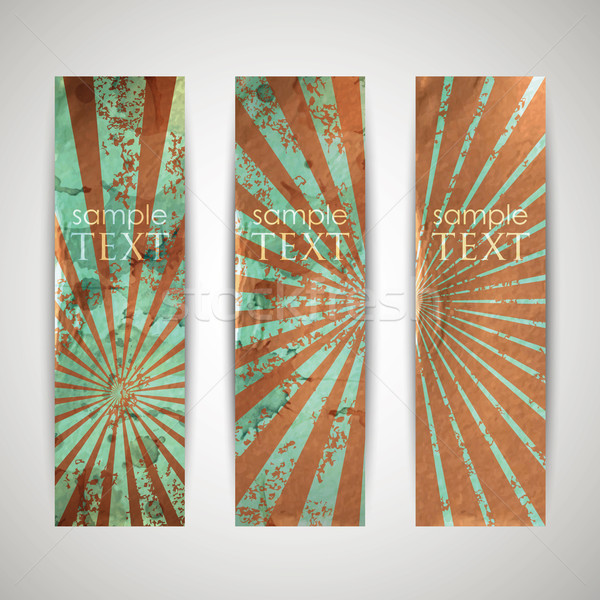 set of vintage banners with grunge cardboard texture  Stock photo © maximmmmum