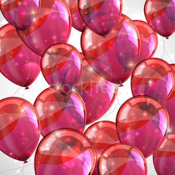ünnep repülés piros léggömbök boldog terv Stock fotó © maximmmmum
