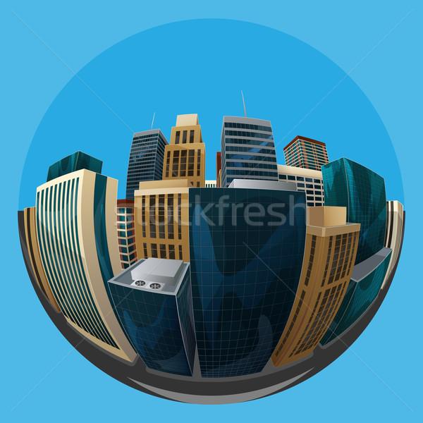 Stock fotó: Illusztráció · halszem · lencse · városkép · kilátás · város