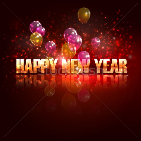 happy new year. holiday background with flying balloons  Stock photo © maximmmmum