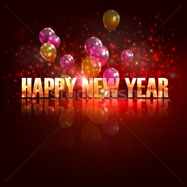 Szczęśliwego nowego roku wakacje pływające balony szczęśliwy świetle Zdjęcia stock © maximmmmum