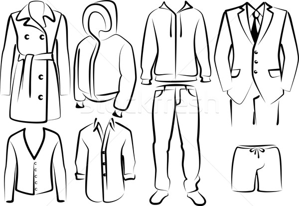 Collectie kleding mannen pak schoen shirt Stockfoto © maximmmmum