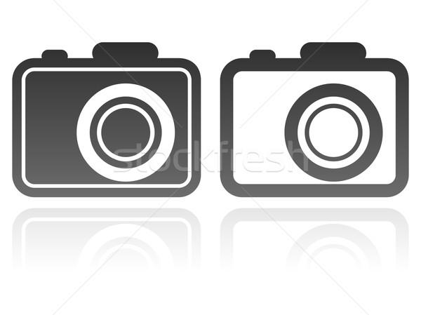 Vektor szett kamera ikonok művészet sziluett Stock fotó © maximmmmum