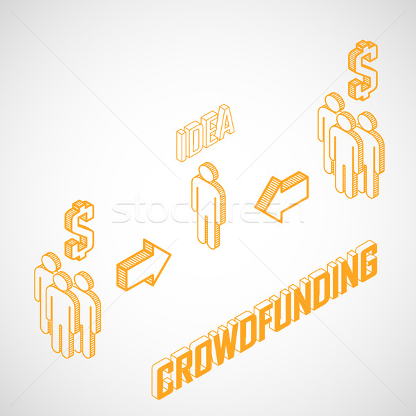 Infographic crowdfunding concept with isometric icons. Business concept  Stock photo © maximmmmum