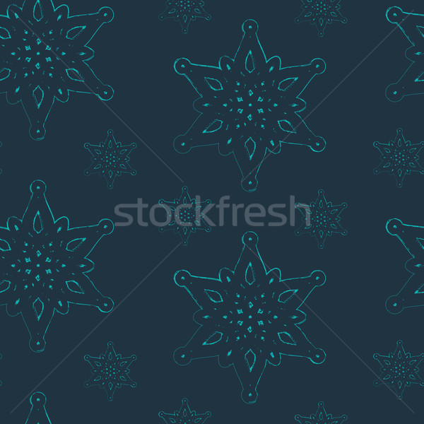 vector seamless background with graceful snowflakes Stock photo © maximmmmum