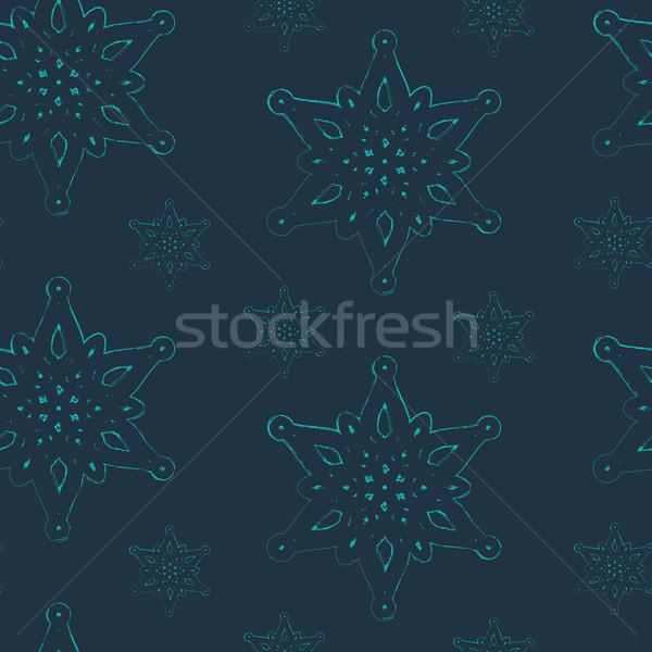 Vector naadloos bevallig sneeuwvlokken licht sneeuw Stockfoto © maximmmmum