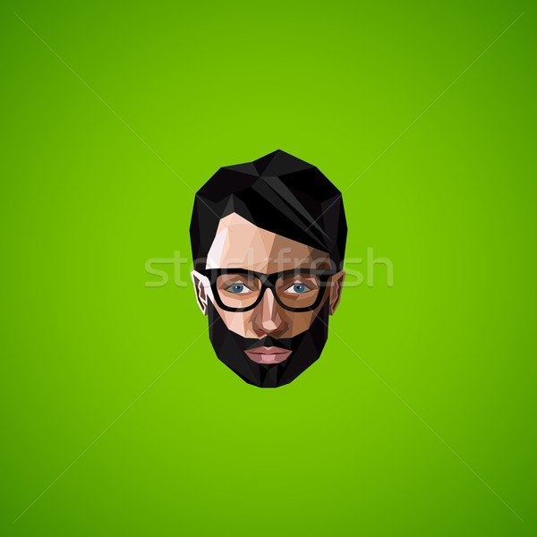 illustration with caucasian man face in polygonal style. beauty or fashion icon Stock photo © maximmmmum