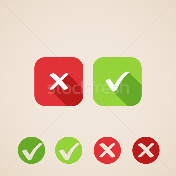 vector check mark icons. flat icons for web and mobile applications (flat design with long shadows)  Stock photo © maximmmmum