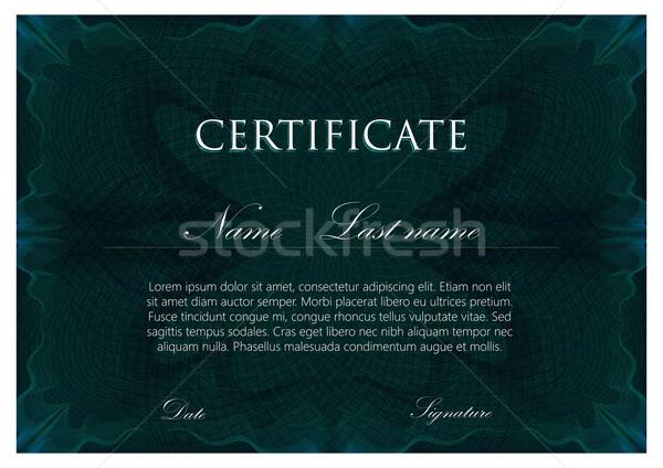 Vector plantilla diseno certificado patrón negocios Foto stock © maximmmmum