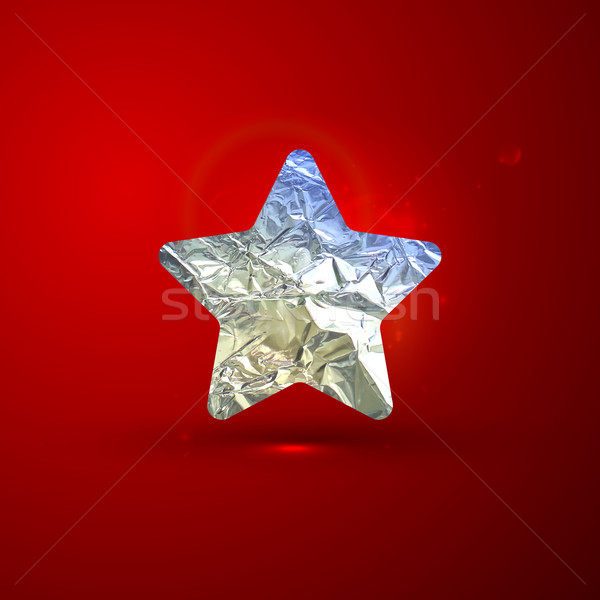 vector shiny illustration of a silver foil star on red vivid bac Stock photo © maximmmmum