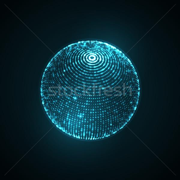3D megvilágított gömb izzó részecskék drótváz Stock fotó © maximmmmum