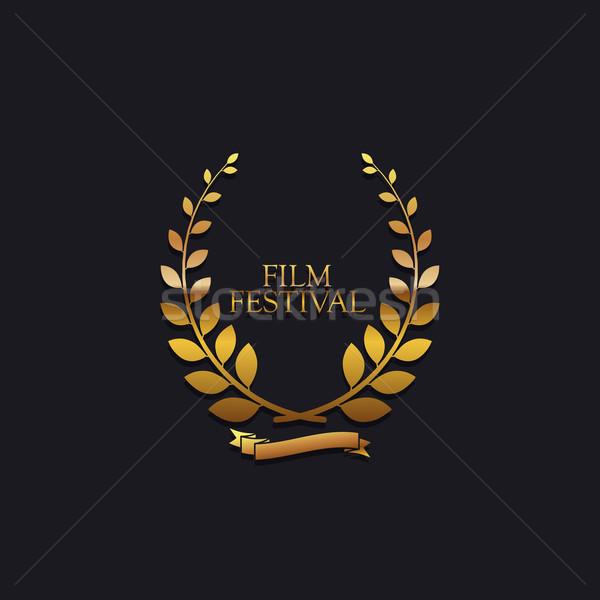 Film festival ödül imzalamak altın çelenk Stok fotoğraf © maximmmmum