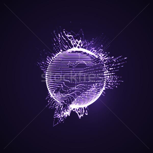 3D iluminado distorsionado esfera partículas Foto stock © maximmmmum