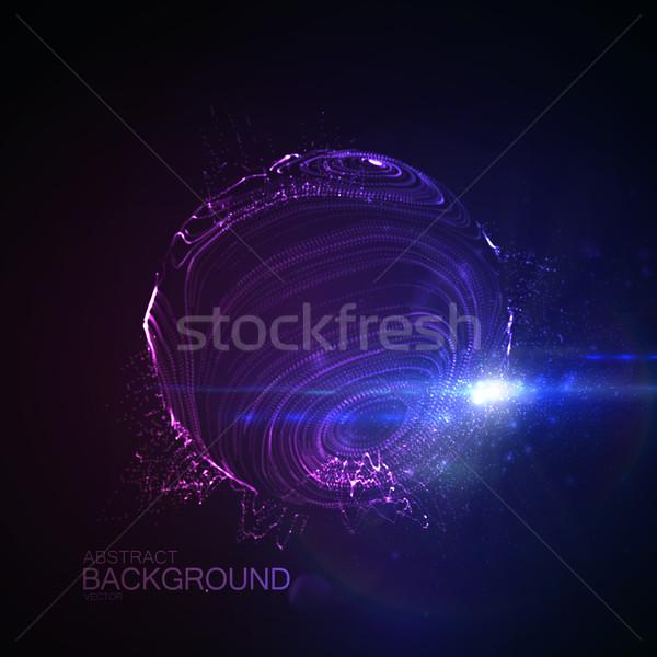 3D zniekształcony sferze cząstki Zdjęcia stock © maximmmmum