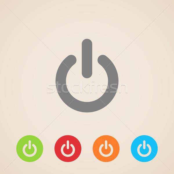 Vektör güç simgeler teknoloji web düğme Stok fotoğraf © maximmmmum