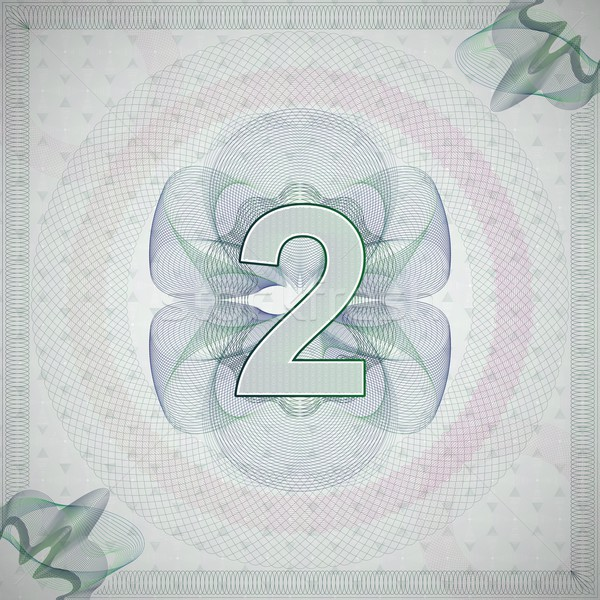 vector illustration of number 2 (two) in guilloche ornate style. monetary banknote background Stock photo © maximmmmum