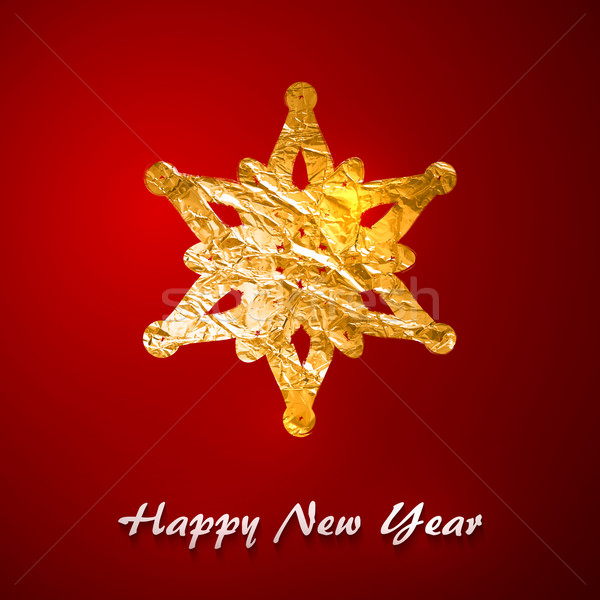 Holiday vector illustration of a golden foil snowflake. Merry Christmas. Festive poster, flyer, gree Stock photo © maximmmmum