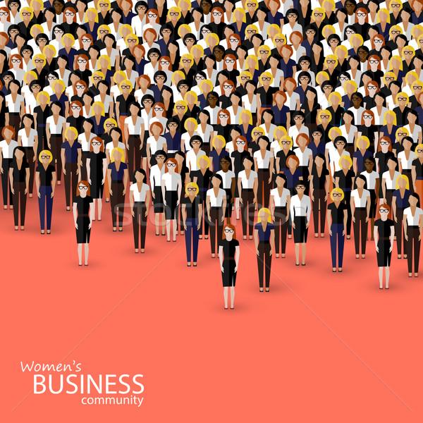 vector flat illustration of women business community. a crowd of women (business women or politician Stock photo © maximmmmum