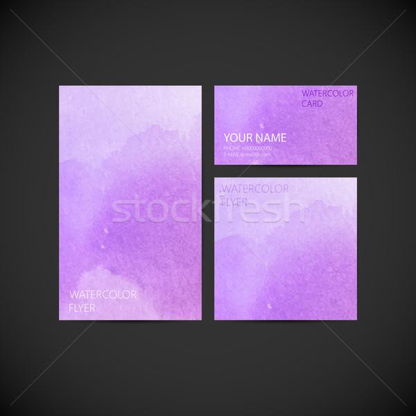 ストックフォト: セット · ベクトル · 企業 · アイデンティティ · 塗料 · 水彩画