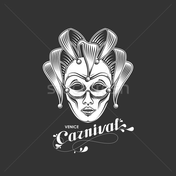 vector illustration of engraving venetian carnival mask emblem and ornate lettering logo. Venice car Stock photo © maximmmmum
