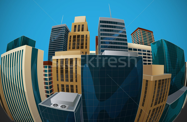illustration of fisheye lens cityscape view. city Stock photo © maximmmmum