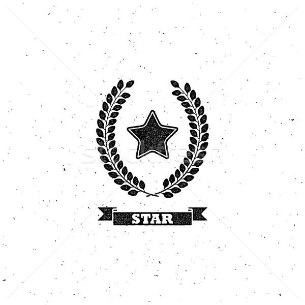 Laurel corona estrellas vintage etiqueta Foto stock © maximmmmum