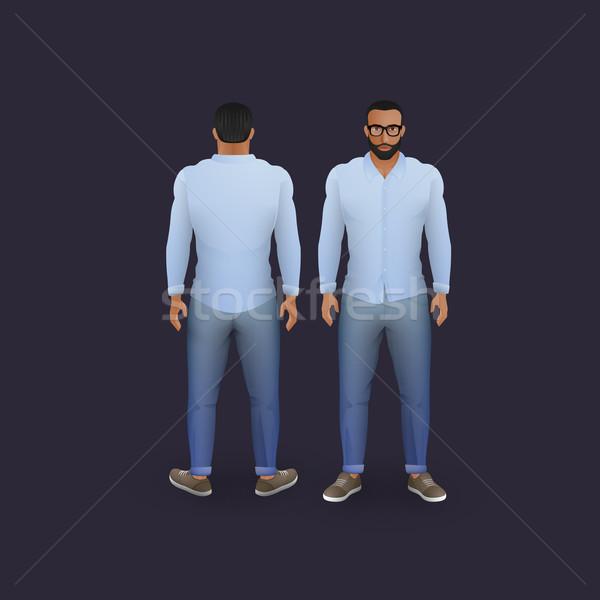 men in jeans and shirt Stock photo © maximmmmum