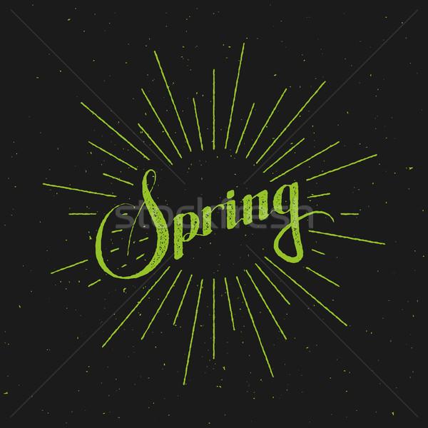 Spring season retro label with light rays Stock photo © maximmmmum