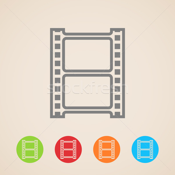 Vecteur bande de film icônes film cadre web Photo stock © maximmmmum