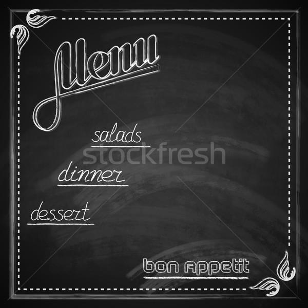 Foto stock: Vintage · quadro-negro · menu · projeto · fundo · restaurante