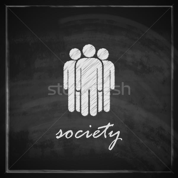 Vintage illustratie samenleving symbool Blackboard textuur Stockfoto © maximmmmum