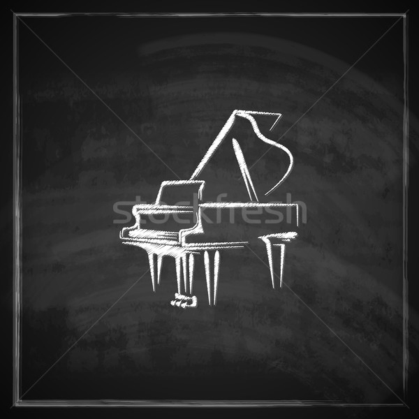 vintage illustration with the grand piano on blackboard background.  Stock photo © maximmmmum