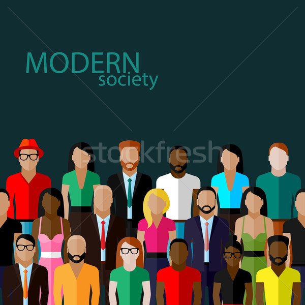 vector flat  illustration of society members with a large group of men and women. population. modern Stock photo © maximmmmum