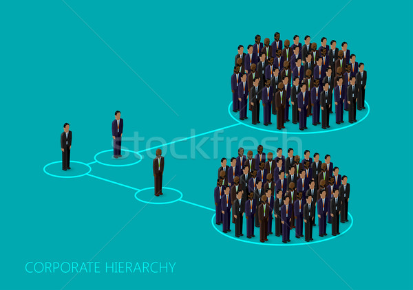 vector 3d isometric illustration of a corporate hierarchy structure. a crowd of men (business men or Stock photo © maximmmmum