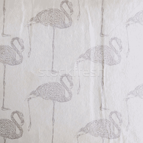 vector vintage illustration of a flamingo pattern on the old wri Stock photo © maximmmmum