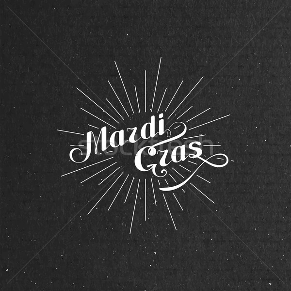 vector typographical illustration of ornate Mardi Gras label on the black cardboard texture  Stock photo © maximmmmum