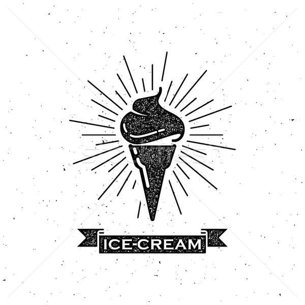Cornet de crème glacée vintage ruban étiquette design Photo stock © maximmmmum