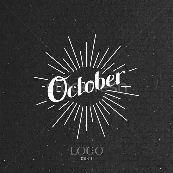 illustration of handwritten October retro label with light rays Stock photo © maximmmmum