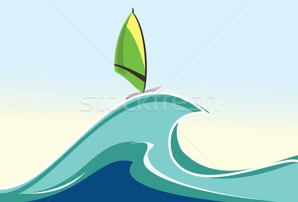 Windszörf illusztráció tenger nyár óceán szörf Stock fotó © maximmmmum