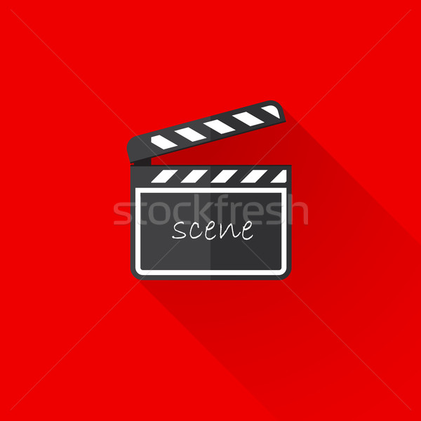 vintage illustration of a clap board in flat style with long shadow  Stock photo © maximmmmum