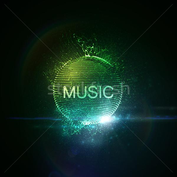 Musique enseigne au néon 3D déformée sphère Photo stock © maximmmmum