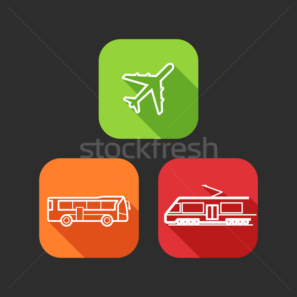 flat icons for web and mobile applications with public transport (flat design with long shadows)  Stock photo © maximmmmum