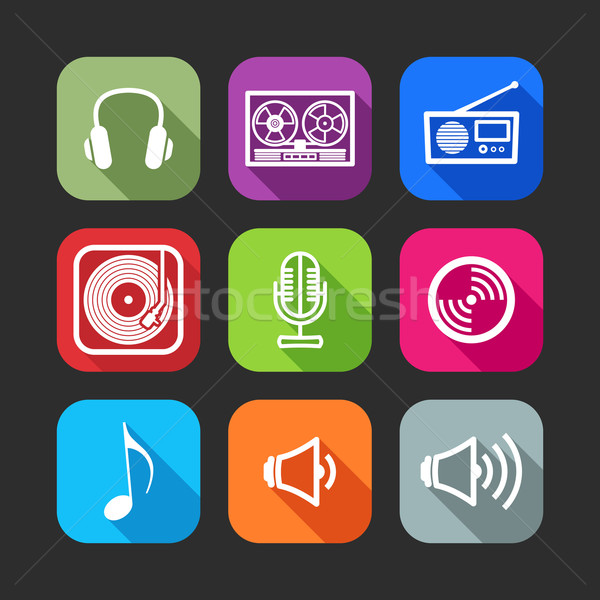 flat icons for web and mobile applications with musical items(flat design with long shadows)  Stock photo © maximmmmum