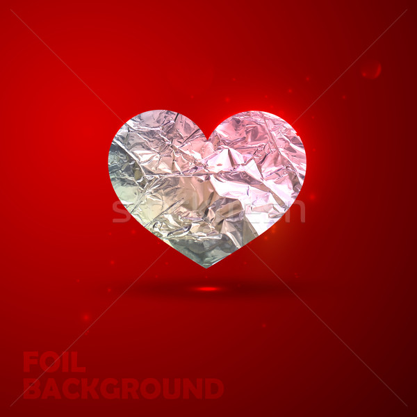 vector illustration of silver heart with foil texture. Valentine Stock photo © maximmmmum