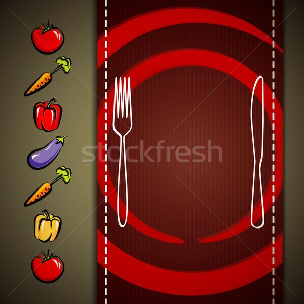 Menu design restaurant plaque couteau fourche Photo stock © maximmmmum