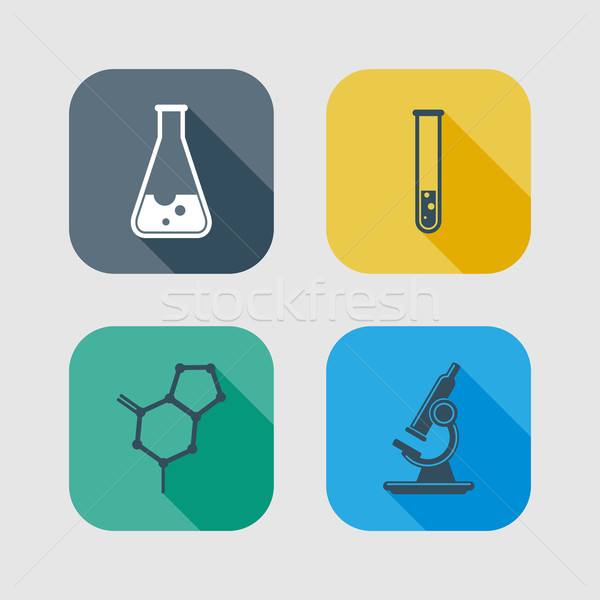 icon set of science signs. flat design with long shadows  Stock photo © maximmmmum