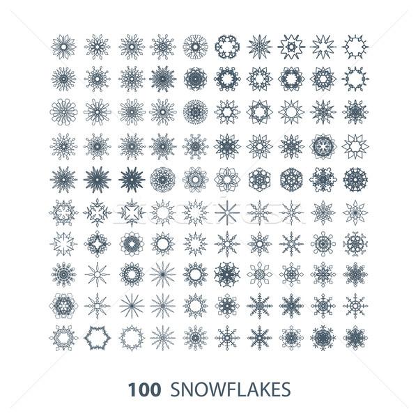 Wektora zestaw 100 wdzięczny płatki śniegu śniegu Zdjęcia stock © maximmmmum